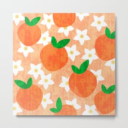 Tropical exotic oranges and white pretty orange blossoms fruity floral summer bright sunny light pastel peach color pattern design. Metal Print