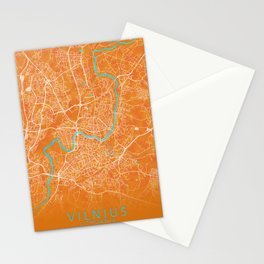 Vilnius, Lithuania, Gold, Blue, City, Map Stationery Cards