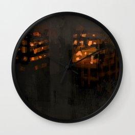 Burning city buildings urban destruction digital illustration Wall Clock