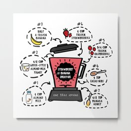 Strawberry and Banana Smoothie Recipe Metal Print