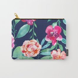 Pink Watercolor Flowers and Green Leaves on Navy Background Carry-All Pouch