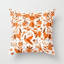Mexican Otomí Design in Orange Color Throw Pillow
