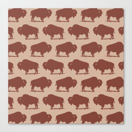 Buffalo Bison Pattern Brown and Beige Canvas Print