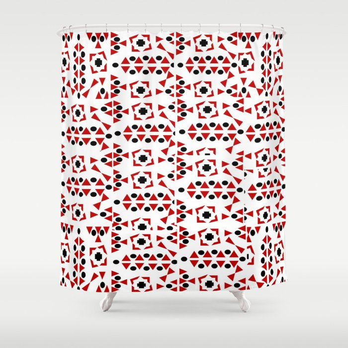 Red And Black Bandana Shower Curtain