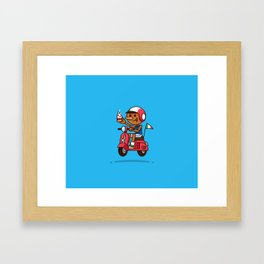 Italy! Pinocchio Eat Pizza and Ride Vespa Framed Art Print