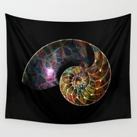 shell Wall Tapestries featuring Fossilized Nautilus Shell by Klara Acel