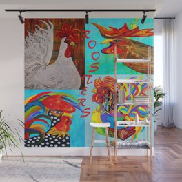 Rooster Menagerie Wall Mural