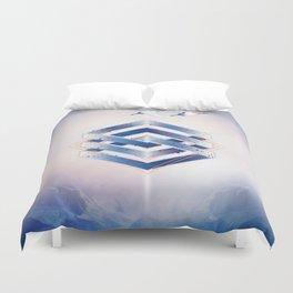 Indigo Hexagon :: Floating Geometry Duvet Cover