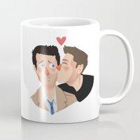 destiel Mugs featuring Destiel kisses by Mack Robles