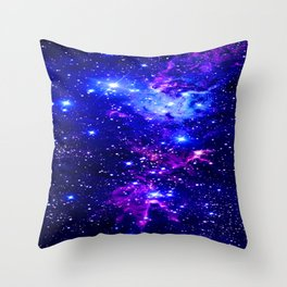 Fox Fur Nebula Galaxy blue purple Throw Pillow