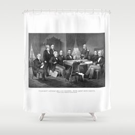President Lincoln And His Cabinet, With Lieut. Genl. Scott Shower Curtain