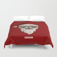 drunk Duvet Covers featuring DRUNK SANTA by MEET THE PUGS
