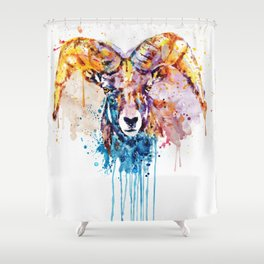 Bighorn Sheep Portrait Shower Curtain
