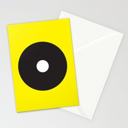 White dot on black on yellow Stationery Cards