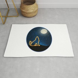 Neon Image of Golden Wolf Howling at Moon and Starry Sky Rug