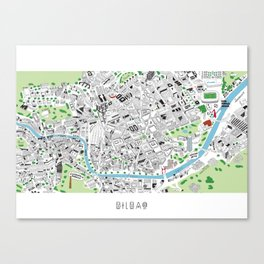 BILBAO HAND DRAWN MAP Canvas Print