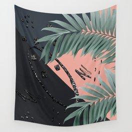 Night Palms Cali Vibes Abstract Glitter Glam #3 #tropical #decor #art #society6 Wall Tapestry
