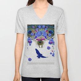 BLUE MORNING GLORY FLOWERS  FANTASY ART Unisex V-Neck