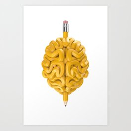 Pencil Brain Art Print