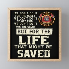 Firefighter Extinguishing Fire Brigade Framed Mini Art Print
