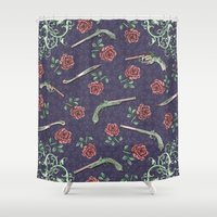 guns Shower Curtains featuring Elegant Guns Knives and Roses by Paula Belle Flores