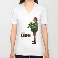 leon V-neck T-shirts featuring Mathilda, Leon the Professional by Natalié Art&Living