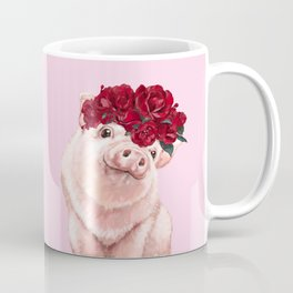 Baby Pig with Rose Flower Crown in Pink Coffee Mug