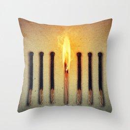 match burning alone Throw Pillow