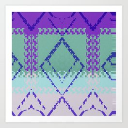 Purple mint green and blues diamond Aztec inspired Design Art Print