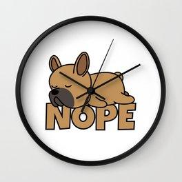 Nope French Bulldog Wall Clock