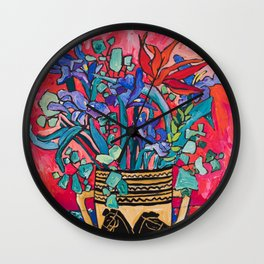 Persephone Painting - Bouquet of Iris and Strelitzia Flowers in Greek Horse Vase Against Coral Pink Wall Clock