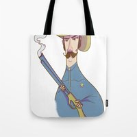 cowboy Tote Bags featuring Cowboy by Franck Giusti