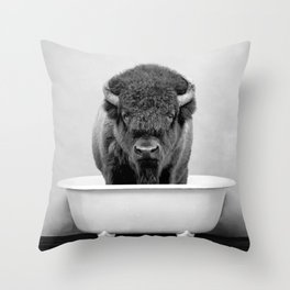 Buffalo in a Vintage Bathtub (bw) Throw Pillow