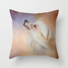 Wind In Her Hair - Chinese Crested Hairless Dog Throw Pillow