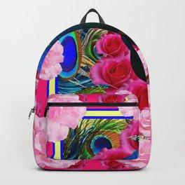 FUCHSIA  BLUE PEACOCK &  PINK ROSE GARDEN Backpack