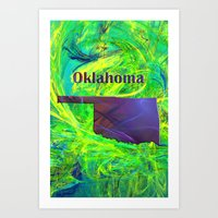 oklahoma Art Prints featuring Oklahoma Map by Roger Wedegis