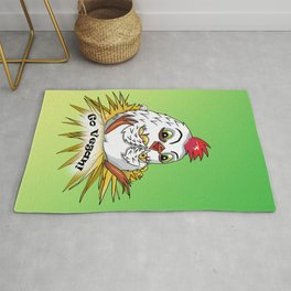 Mother hen and her chicks say go vegan Rug