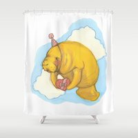 manatee Shower Curtains featuring Sky Manatee by Marlee Jennings