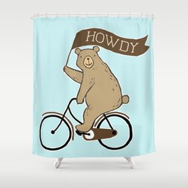 Friendly Neighborhood Bicycle Bear Shower Curtain