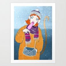 Ice Monkey Art Print