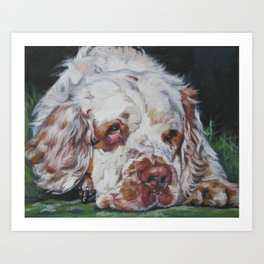 The Clumber Spaniel dog art portrait from an original painting by L.A.Shepard Art Print