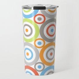 Abstract Circles Pattern Color Mix & Greys Travel Mug