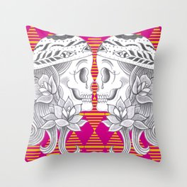 Mexican Skull by Camel Throw Pillow
