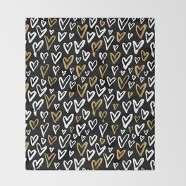 Black White and Gold Hearts Throw Blanket
