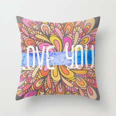Love you - Boho Gypsy Soul Mandala Throw Pillow