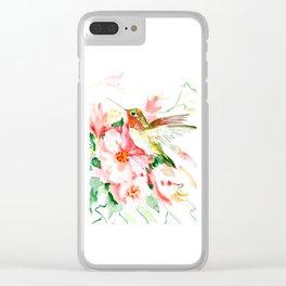 Hummingbird, Hawaiian Design, Hibiscus and Hummingbird Clear iPhone Case
