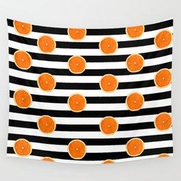 Juicy Orange Slices Black Stripes Chic Wall Tapestry