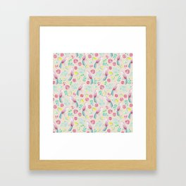 Watercolor Birds and Spring Flowers Framed Art Print