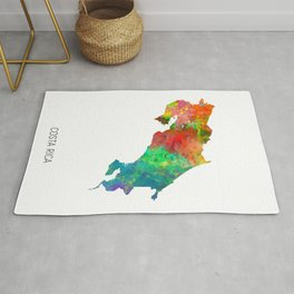 Costa Rica Watercolor Map Rug