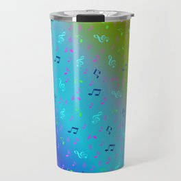 colorful blue music notes abstract, art, artistic, background, bass, beautiful, classical, clef, cre Travel Mug